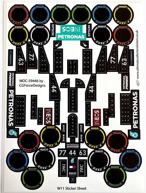 Lego Sticker Sheet for F1 Mercedes W11 by LegoCG (MOC-59446)