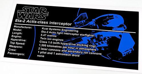 Lego Star Wars UCS / MOC Sticker for Jedi Interceptor (75038 / 9494 / 75281)