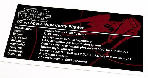 Lego Star Wars UCS / MOC Sticker for TIE Vendetta (SB00201 / 75179)