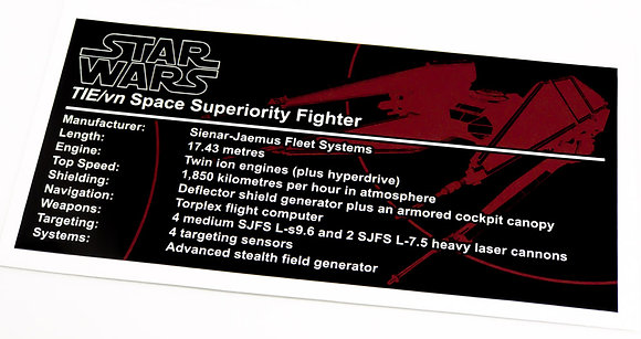 Lego Star Wars UCS / MOC Sticker for TIE Vendetta (SB00201 / 75179)