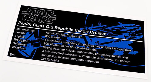 Lego Star Wars UCS / MOC Sticker for Zenith Class Escort Cruiser