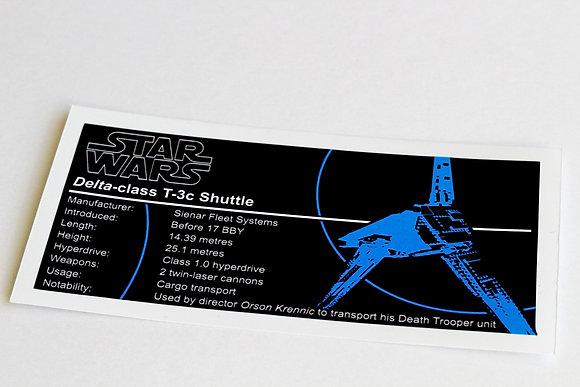 Lego Star Wars UCS / MOC Sticker for Krennic's Imperial Shuttle 75156