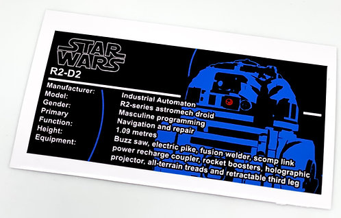 Lego Star Wars UCS / MOC Sticker for R2-D2 75308