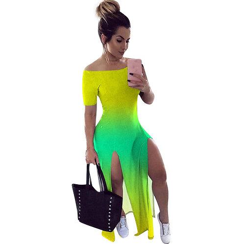 Green Ombre tie dye slit dress