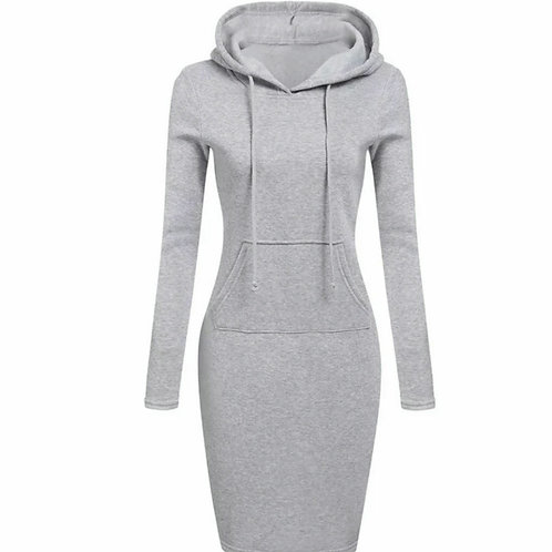 Hooded grey dress