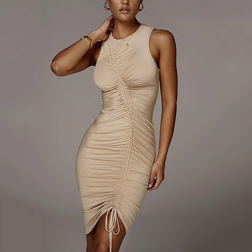Khaki ruffle dress