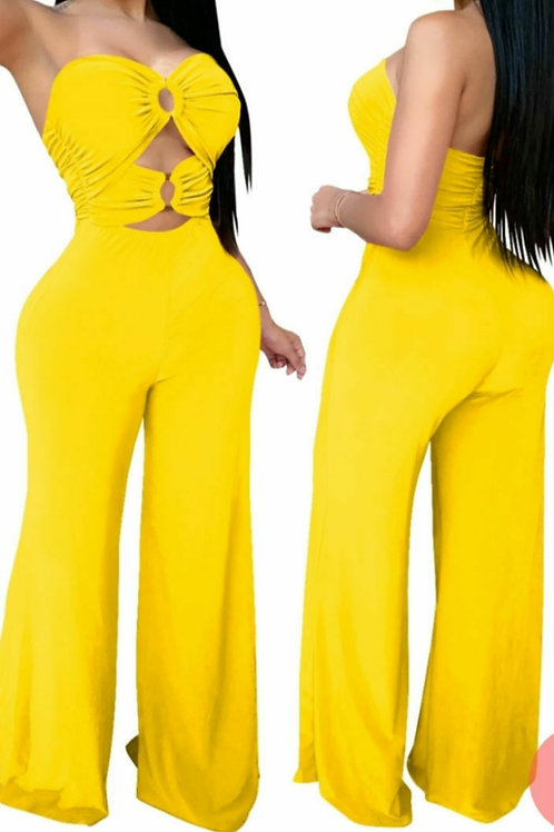 Yellow Sexy plain Strapless jumpsuit