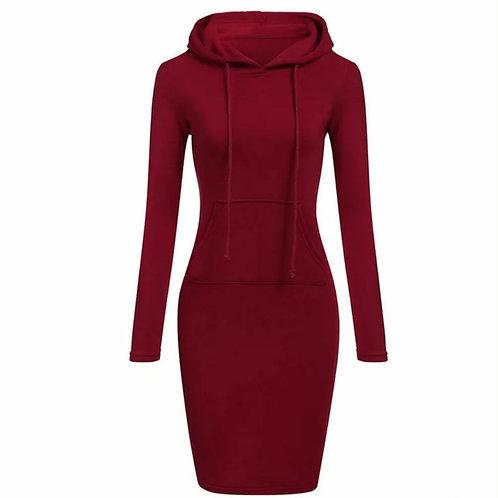 Maroon hood dress