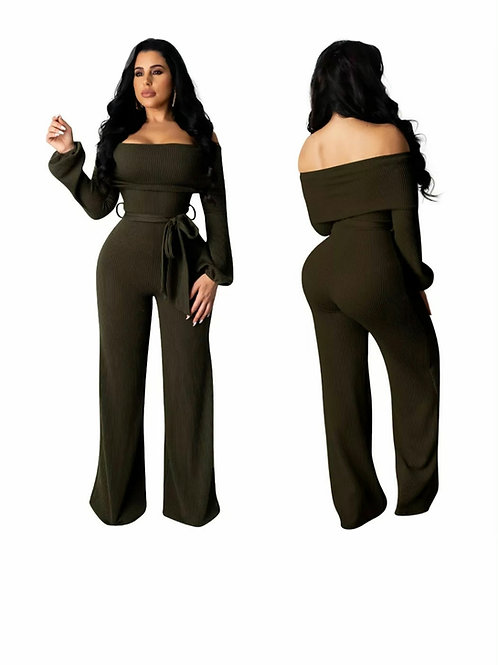 Green off-shoulder jumpsuit