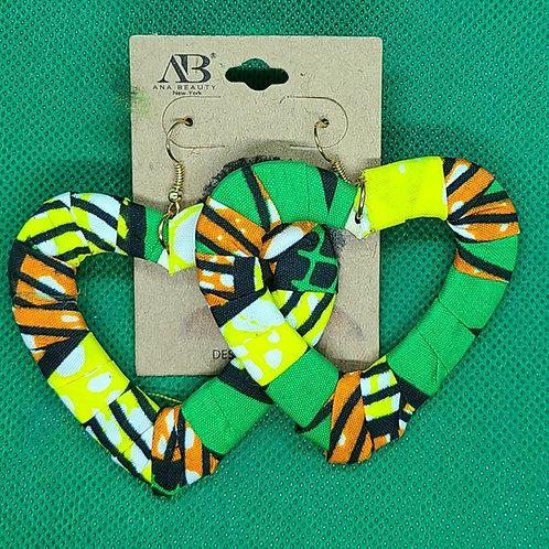 Yellow heart African dashiki earrings