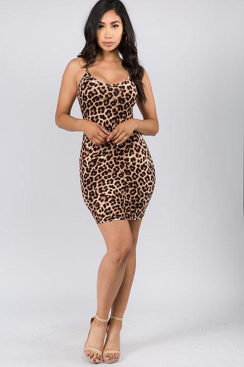 Spaghetti Leopard Print Dress