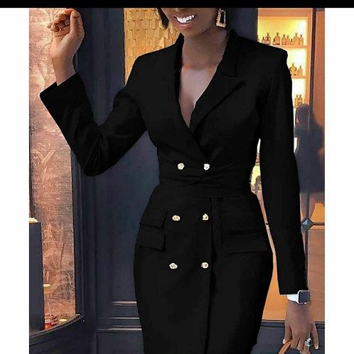 Black buttoned blazer dress