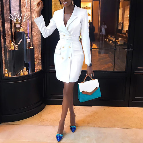 White buttoned blazer dress