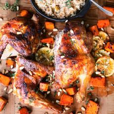Печёная курица с ризотто из полбы
