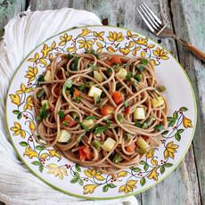 Спагетти с зелёной фасолью и картофелем
