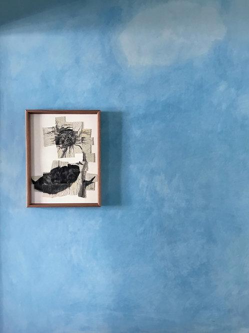 Original tapestry + collage ~ sunflower study, no.ii