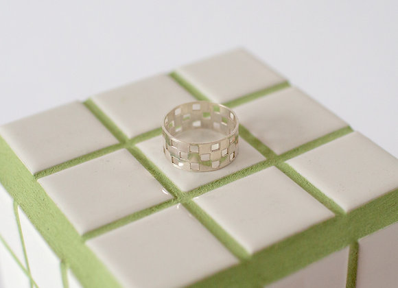 Checkered Ring - Silver
