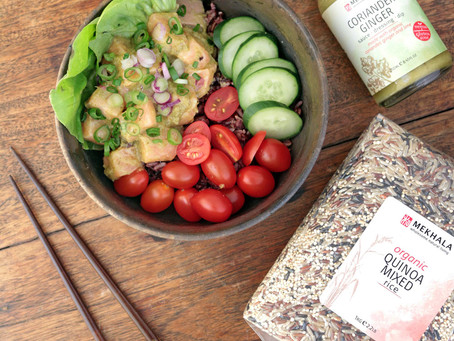 Poke Bowl: Salmon, Coriander Ginger Dressing and Quinoa Mixed Rice