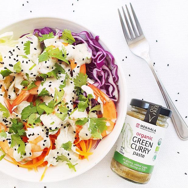 Prawn Salad with Green Curry Yoghurt Dre
