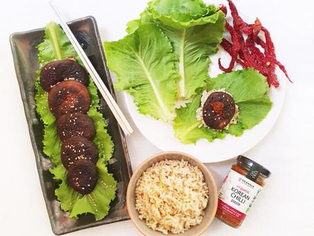 Korean Spicy Mushroom Lettuce Wraps