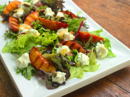 Grilled Nectarine and Goat's Cheese Salad with Plum Dressing