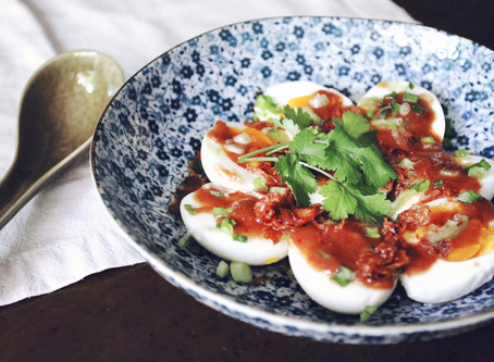 """""""Son-in-Law"""" Eggs with Tamarind (Pad Thai) Sauce"""