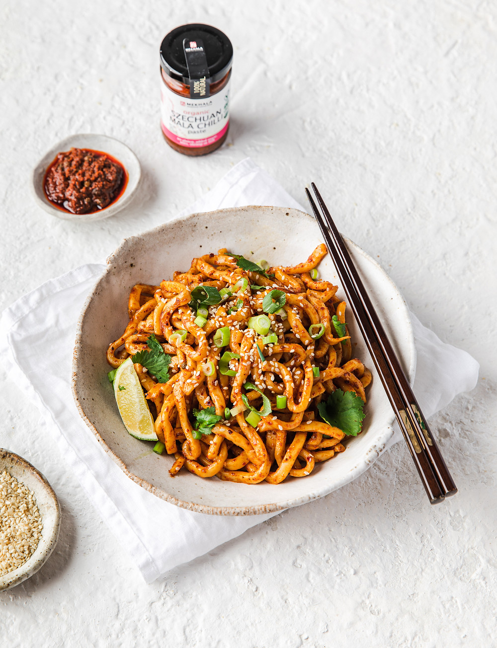 Biang biang udon noodles, organic, spicy szechuan spicy mala chilli paste, vegan, gluten free
