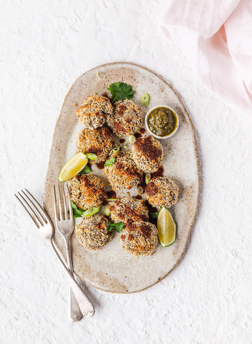 Ginger scallion meatless mushroom tofu meatballs. Meatless alternative.