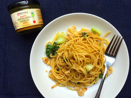 Easy Lemongrass-Turmeric Chicken & Bok Choy Spaghetti