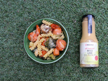 Mixed Veggie Pasta Salad with Miso Lime Dressing