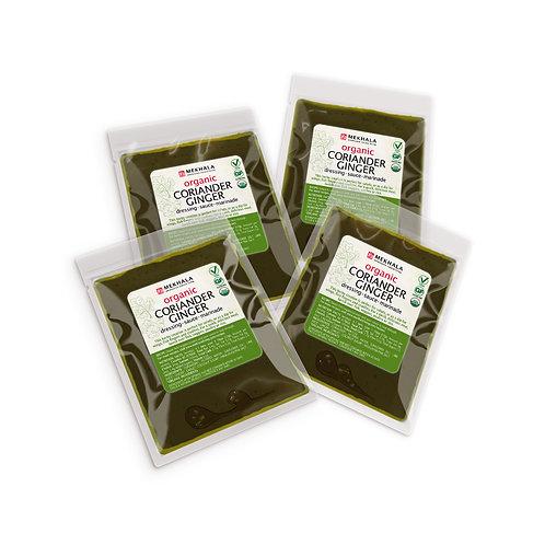 Organic Coriander (Cilantro) Ginger Dressing/Sauce/Marinade 4-Sachet Pack