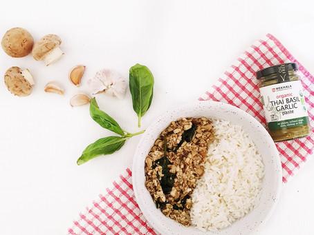 Vegan Thai Basil Garlic Mushroom Tofu Stir Fry