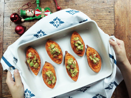 Healthy Sweet Potato Skins with Avocado-Tomato Salsa