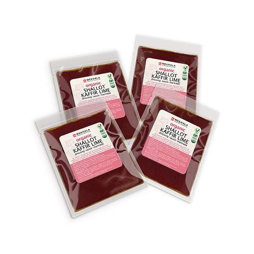 Organic Shallot Kaffir Lime Dressing/Sauce/Marinade 4-Sachet Pack