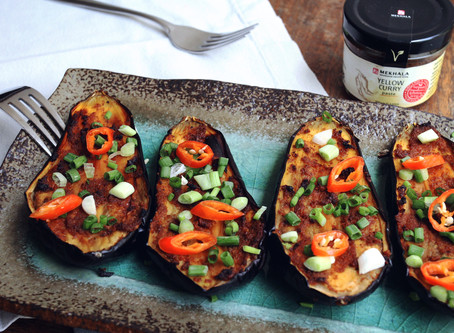 Yellow Curried Baked Eggplant
