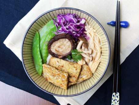 Tom Yum Udon Noodles with Mushrooms and Tempeh