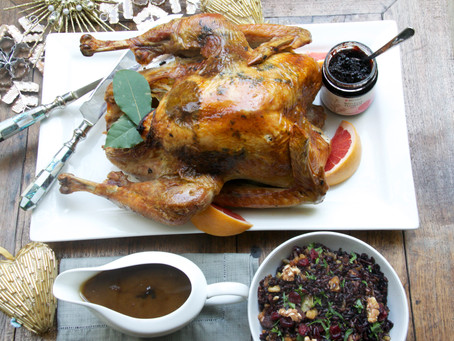 Festive Roast Turkey with Sage Butter And Jam Sauce