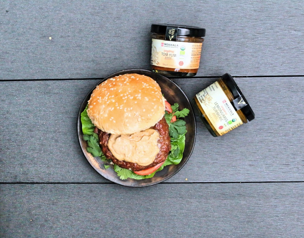 Plant-based burger with tom yum mayo