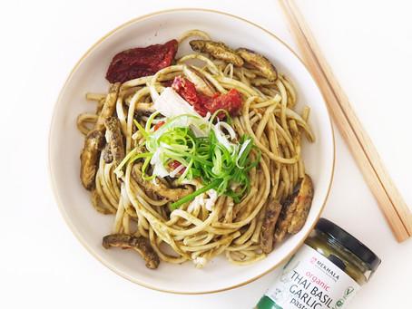 Vegan Thai Basil Garlic Udon