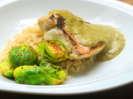 Brown Rice Bowl with Pan Fried Snapper and Coriander Ginger Sauce, Brussels Sprouts and Roasted Swee