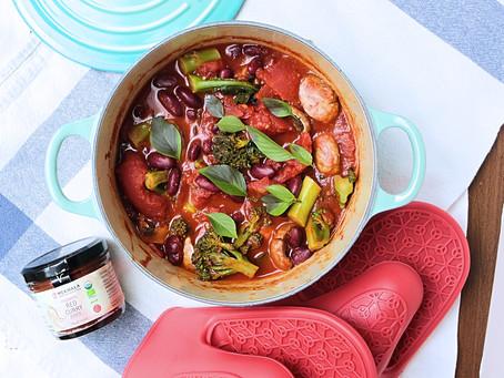 "Kidney Bean, Mushroom & Broccoli Tomato Red ""Curry"""