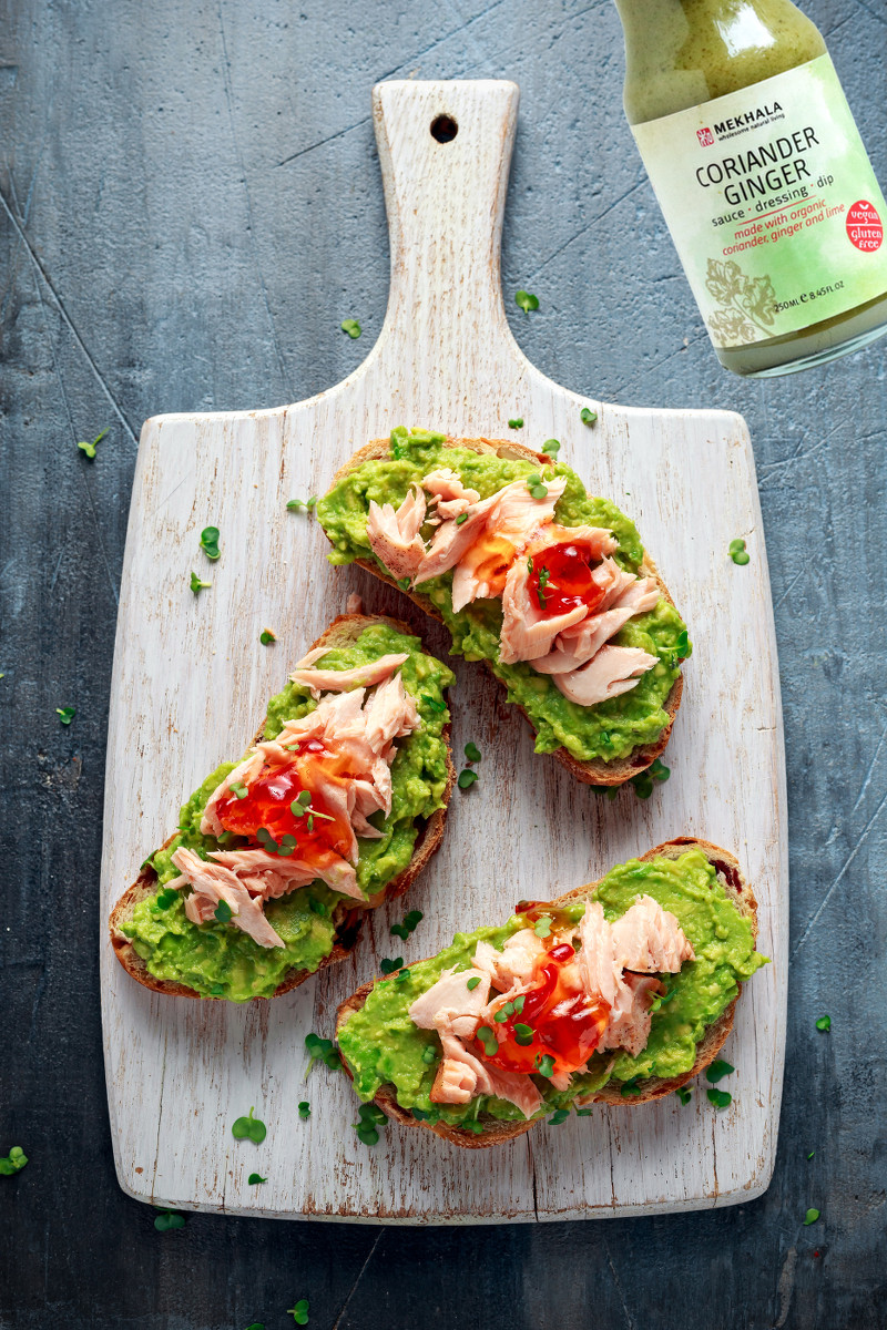 Coriander Ginger Avocado and Salmon Toast