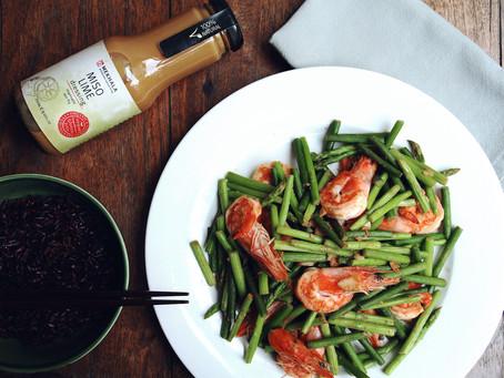 Miso Lime Prawn Asparagus & Garlic Chive Stir-Fry