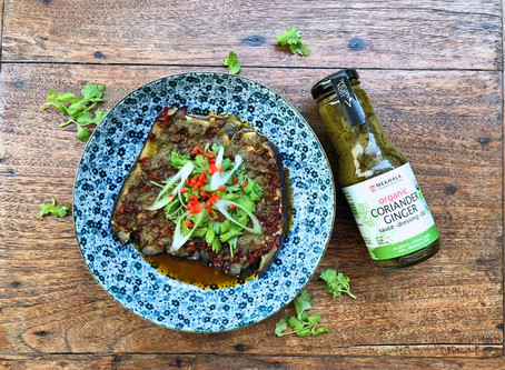Chinese Style Steamed Eggplant with Chili Garlic and Coriander Ginger