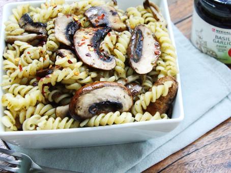 Basil Garlic Mixed Mushroom Pasta