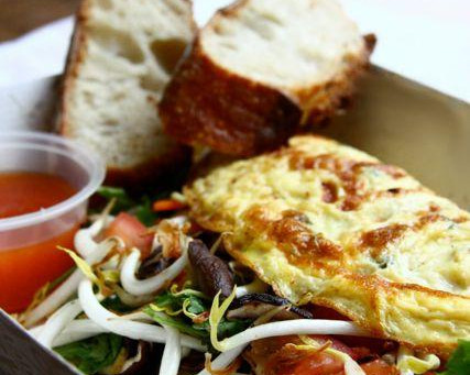 Miso Lime Omelette With Pineapple Sweet Sour Sauce