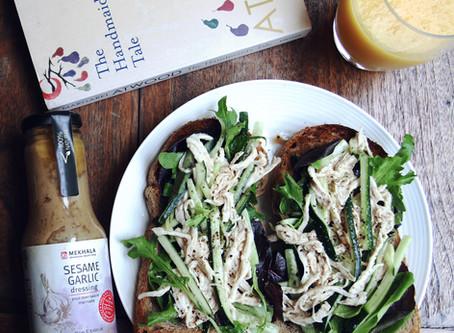 Chicken and Cucumber Sandwich with Sesame Garlic Sauce