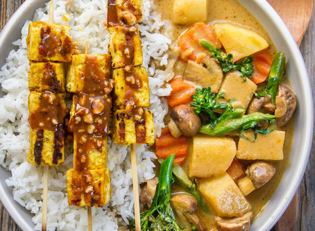 Vegan Satay and Yellow Curry Bowl by Woon Heng