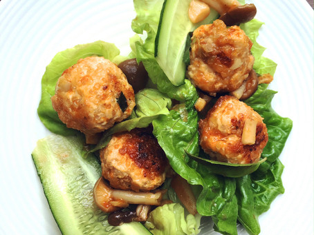 Quinoa Chicken Meatballs with Pineapple Sweet & Tangy Sauce in Lettuce Cups