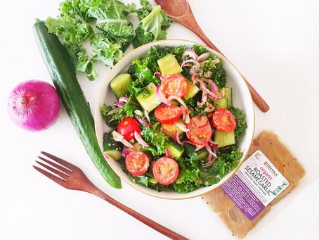 Roasted Sesame Garlic Kale Salad